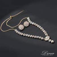 DINA JEWELRY蒂娜珠寶 陽光燦爛 CZ鑽項鍊耳環套組(LY65153)