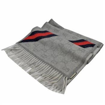GUCCI 429255 經典雙G緹花羊毛絲綢披肩圍巾.灰藍紅