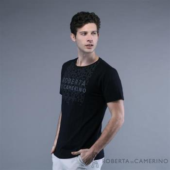 ROBERTA諾貝達 台灣製  吸濕排汗 方型塗鴉印花 短袖休閒棉衫 黑色