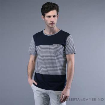 ROBERTA諾貝達 台灣製 抗UV 舒適柔棉 橫條拼接 短袖休閒棉衫 深藍