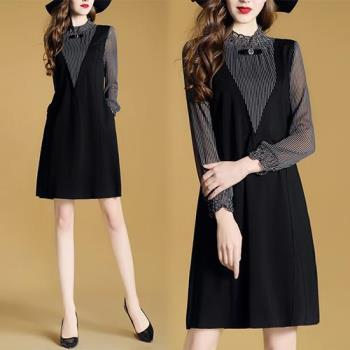 歐風KEITH-WILL    優雅V領網紗條紋假兩件洋裝