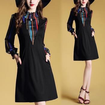 歐風KEITH-WILL    復古多彩印花假兩件洋裝