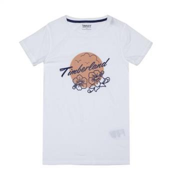 Timberland女款白色品牌字母圖案主題 T 恤A1M7I100