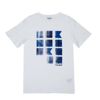 Timberland男款白色純棉印花圓領短袖T 恤A1LTN100