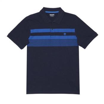 Timberland男女款航海藍短袖條紋 POLO 衫A1LTDJ38