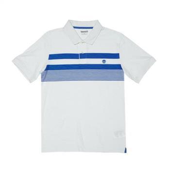 Timberland男女款白色短袖條紋 POLO 衫A1LTD130