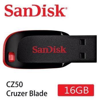 SanDisk Cruzer Blade CZ50 USB隨身碟 (輕薄短小/紅黑/16GB) [公司貨]