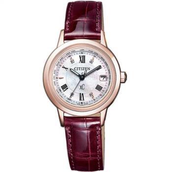 CITIZEN星辰 xC限量櫻花電波真鑽女錶-玫瑰金x紅(EC1144-00W)
