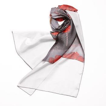 MONS藝術印花100%蠶絲圍巾