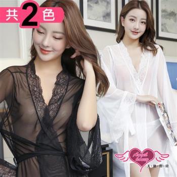 天使霓裳 罩衫 誘人細語 半透性感連身綁帶睡衣(共兩色F) JC7266