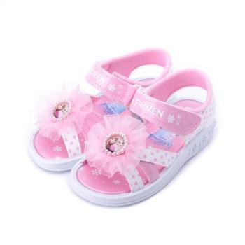 冰雪奇緣 蕾絲花朵涼鞋 粉白 FOKT84143 中小童鞋 鞋全家福