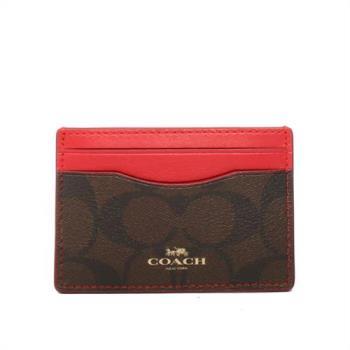 COACH PVC LOGO卡夾/名片夾(巧克力/紅邊)F63279 IML72