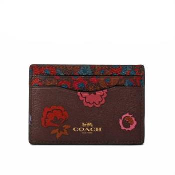 COACH 防刮皮革花卉印花卡夾/名片夾(咖啡色)