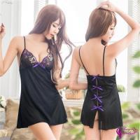 Sexy Cynthia 黑色柔緞刺繡蝴蝶結美背二件式性感睡衣