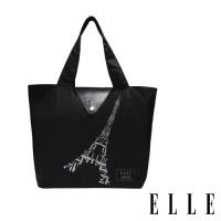 ELLE 鐵塔插畫環保摺疊購物袋 - (2色任選) + 極簡風手提野餐便當保溫/保冷袋
