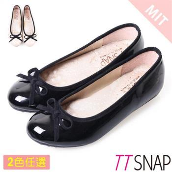TTSNAP娃娃鞋-MIT蝴蝶結亮面小羊漆皮平底鞋 黑/米