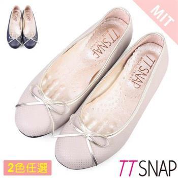 TTSNAP娃娃鞋-MIT甜美小圓點蝴蝶結軟Q平底鞋 灰/藍