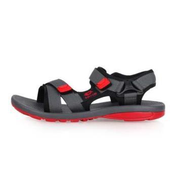 LOTTO 男女大童輕量織帶涼鞋-魔鬼氈 戲水 海邊 沙灘 海灘 灰紅