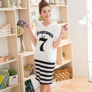 【JimmyWang】   條紋配色連帽白色洋裝M-XXL