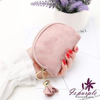 iSPurple 玫瑰掛飾 磨砂皮革零錢包 3色可選