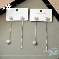 伊飾童話 珍珠線型 水鑽不對襯垂墬耳環 2色可選