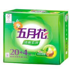 五月花 清膚柔潤抽取衛生紙100抽*24包*3袋(共72包/箱)