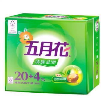 五月花 清膚柔潤抽取衛生紙100抽x24包x3袋(共72包/箱)