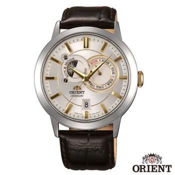 ORIENT東方錶 經典工藝日月相錶系列皮革機械腕錶-銀色x41.5mm FET0P004W0