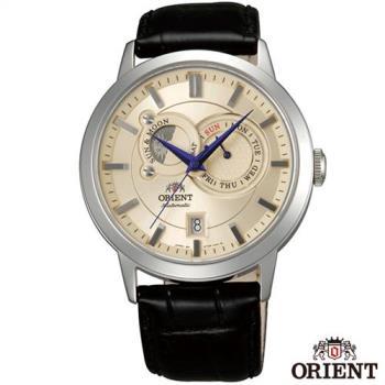 ORIENT東方錶 經典工藝日月相錶系列皮革機械腕錶-米色x41.5mm FET0P003W0