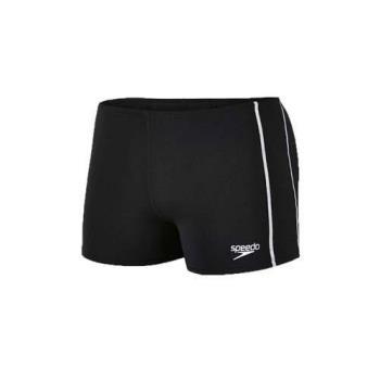 SPEEDO CLASSIC 男運動四角泳褲-平口泳褲 游泳 戲水 黑白