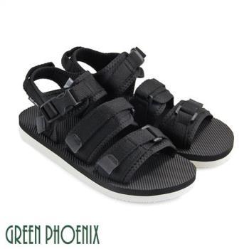 GREEN PHOENIX 輕便休閒魔鬼氈織帶涼鞋(男鞋)T33-16263