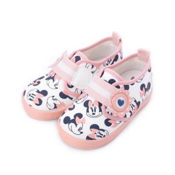 DISNEY 米妮印花寶寶鞋 白粉橘 小童鞋 鞋全家福
