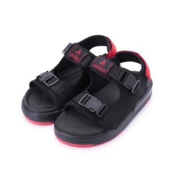 ARRIBA 織帶厚底涼鞋 黑 大童鞋 鞋全家福