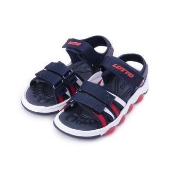 LOTTO 魔鬼氈織帶涼鞋 藍白紅 LT8AKS6206 中大童鞋 鞋全家福