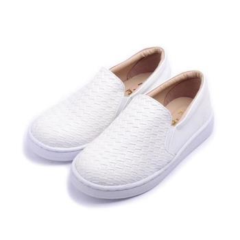 TE TE 編織套式休閒鞋 白 中大童鞋 鞋全家福