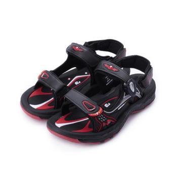 皮爾卡登 磁扣兩用運動涼鞋 黑紅 男鞋 鞋全家福