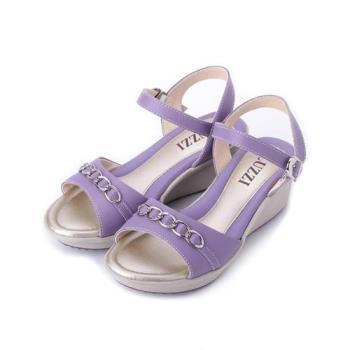 LUZZI 真皮環飾楔型涼鞋 紫 女鞋 鞋全家福