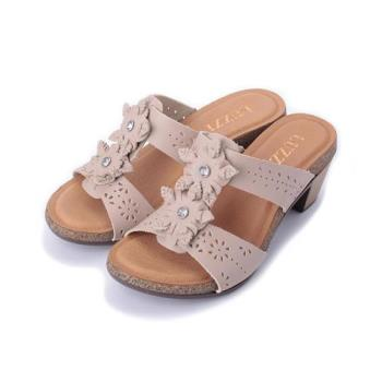 LUZZI 真皮雙鑽花粗跟拖鞋 米 女鞋 鞋全家福