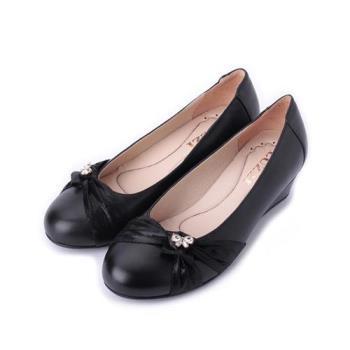 LUZZI 真皮抓皺小鑽楔形鞋 黑 女鞋 鞋全家福