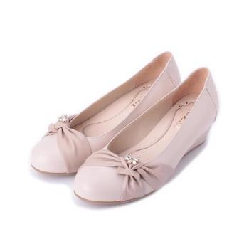 LUZZI 真皮抓皺小鑽楔形鞋 粉 女鞋 鞋全家福