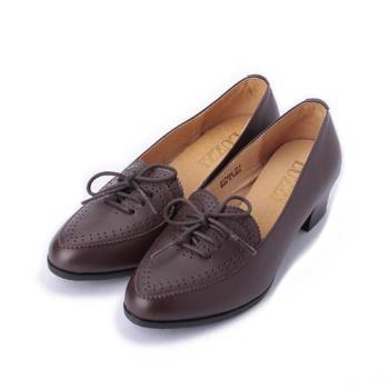LUZZI 真皮雕花粗跟牛津鞋 咖 女鞋 鞋全家福