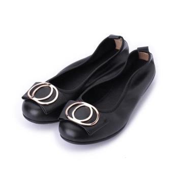LUZZI 真皮雙圓釦鬆緊鞋 黑 女鞋 鞋全家福