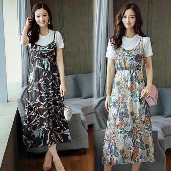韓國KW  度假風小碎花雪紡兩件套吊帶洋裝
