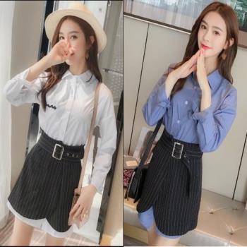 韓國KW  韓風時尚假兩件襯衫裙套裝