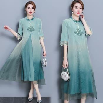 韓國KW  仙女古風漸變色網紗仿絲洋裝