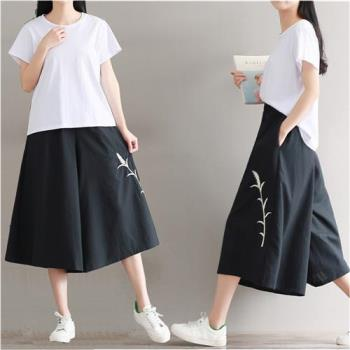 【A3】涼夏 素雅刺繡亞麻寬褲裙-,