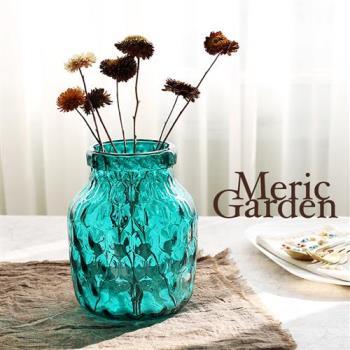 【Meric Garden】湛藍晶透水立方藝術裝飾玻璃花器花瓶(湛海藍S)