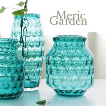 【Meric Garden】湛藍晶透水立方藝術裝飾玻璃花器花瓶(湛海藍M)
