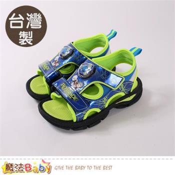 魔法Baby 兒童涼鞋 台灣製戰鬥陀螺正版閃燈運動涼鞋~sa85716