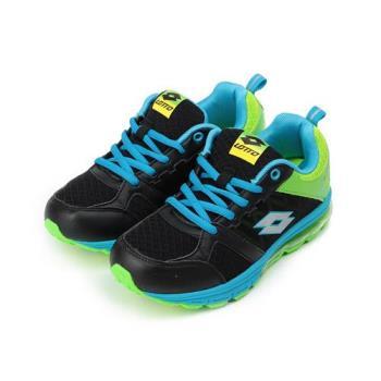 LOTTO 螢光氣墊慢跑鞋 黑綠 LT6AKR3650 大童鞋 鞋全家福